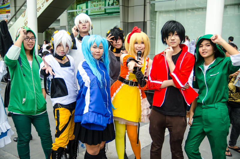 Unidentified Japanese anime cosplay pose in Japan Festa in Bangkok 2013 royalty free stock images