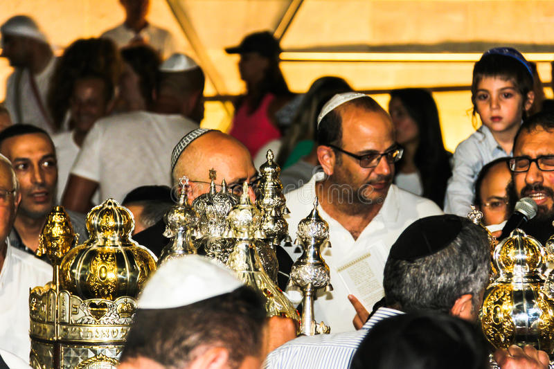 Unidentified jewish people on ceremony of Simhath Torah. Tel Aviv. royalty free stock photo