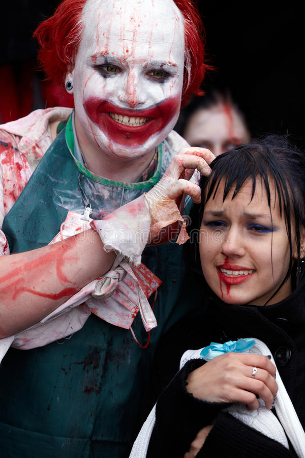 Unidentified made-up participants at Zombie Parade stock images