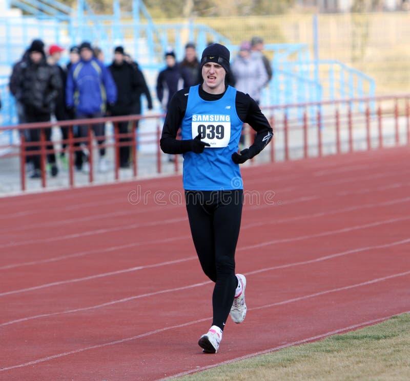 Unidentified men at the 20,000 meters race walk. On Ukrainian Race Walk Track & Field Championships on March 06, 2012 in Yevpatoriya, Ukraine royalty free stock photography