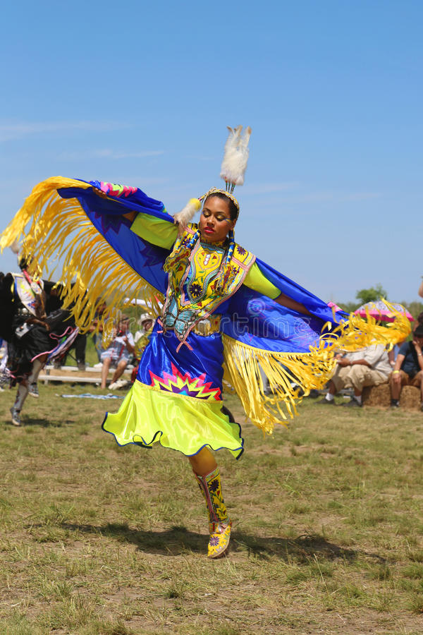 Unidentified Native American dancer at the NYC Pow Wow in Brooklyn. NEW YORK - JUNE 8, 2014: Unidentified Native American dancer at the NYC Pow Wow in Brooklyn stock images
