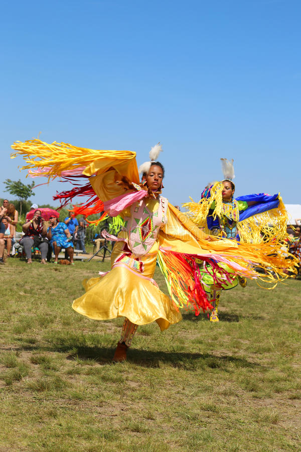 Unidentified Native American dancer at the NYC Pow Wow in Brooklyn. NEW YORK - JUNE 8, 2014: Unidentified Native American dancer at the NYC Pow Wow in Brooklyn royalty free stock photo