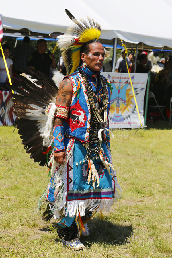 Unidentified Native American dancer at the NYC Pow Wow in Brooklyn. NEW YORK - JUNE 8, 2014: Unidentified Native American dancer at the NYC Pow Wow in Brooklyn royalty free stock photography