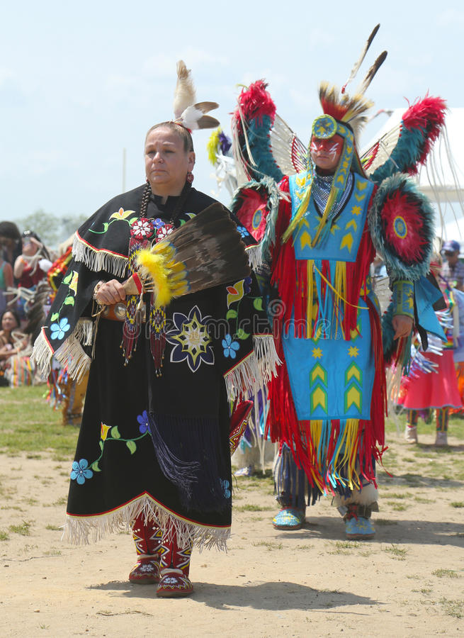 Unidentified Native American dancers at the NYC Pow Wow. BROOKLYN, NEW YORK - JUNE 2: Unidentified Native American dancers at the NYC Pow Wow in Brooklyn on June royalty free stock photo