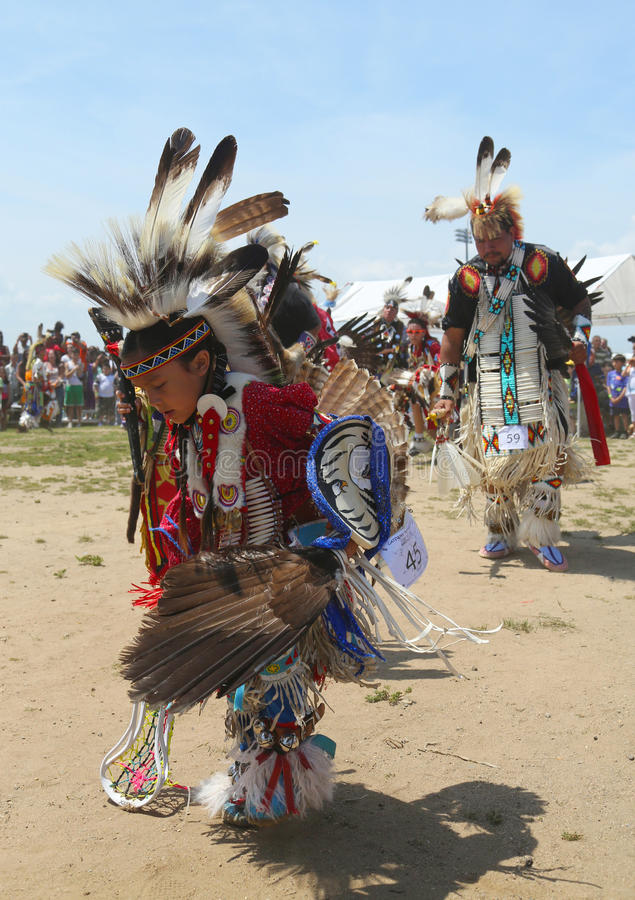 Unidentified Native American dancers at the NYC Pow Wow. BROOKLYN, NEW YORK - JUNE 2: Unidentified Native American dancers at the NYC Pow Wow in Brooklyn on June stock images