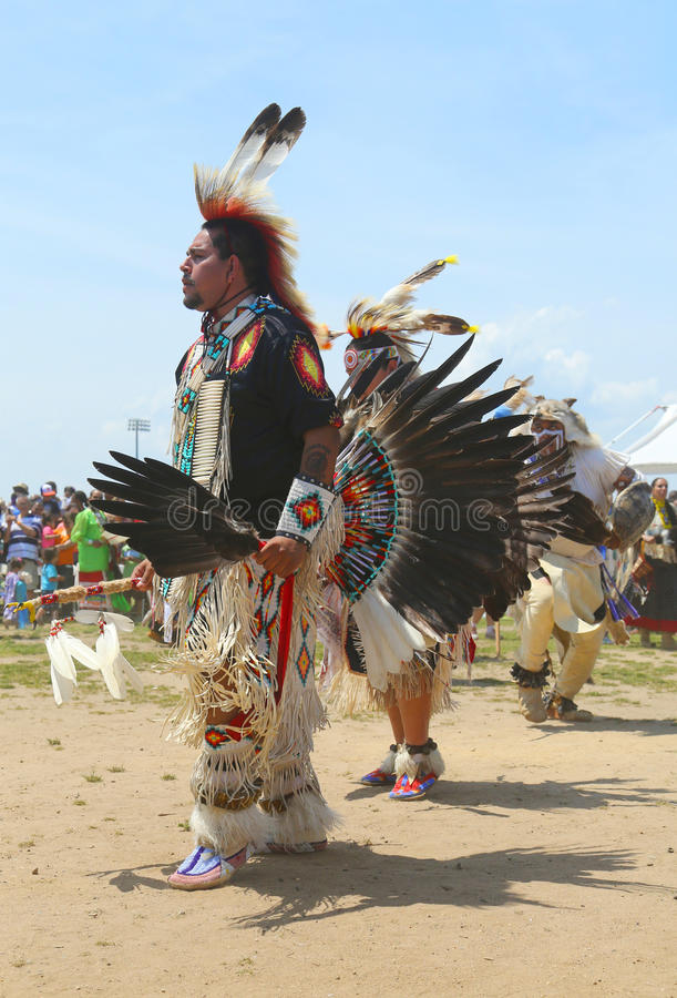 Unidentified Native American dancers at the NYC Pow Wow. BROOKLYN, NEW YORK - JUNE 2: Unidentified Native American dancers at the NYC Pow Wow in Brooklyn on June royalty free stock photos