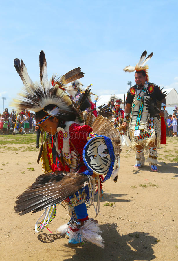Unidentified Native American dancers at the NYC Pow Wow in Brooklyn. BROOKLYN, NEW YORK - JUNE 2:Unidentified Native American dancers at the NYC Pow Wow in royalty free stock image