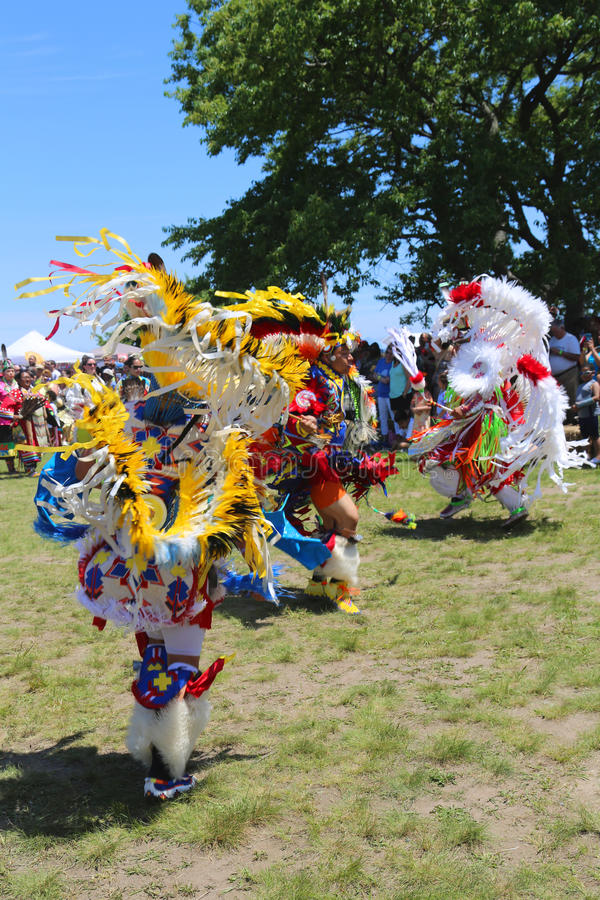 Unidentified Native American dancers at the NYC Pow Wow in Brooklyn. NEW YORK - JUNE 8 Unidentified Native American dancers at the NYC Pow Wow in Brooklyn on stock image