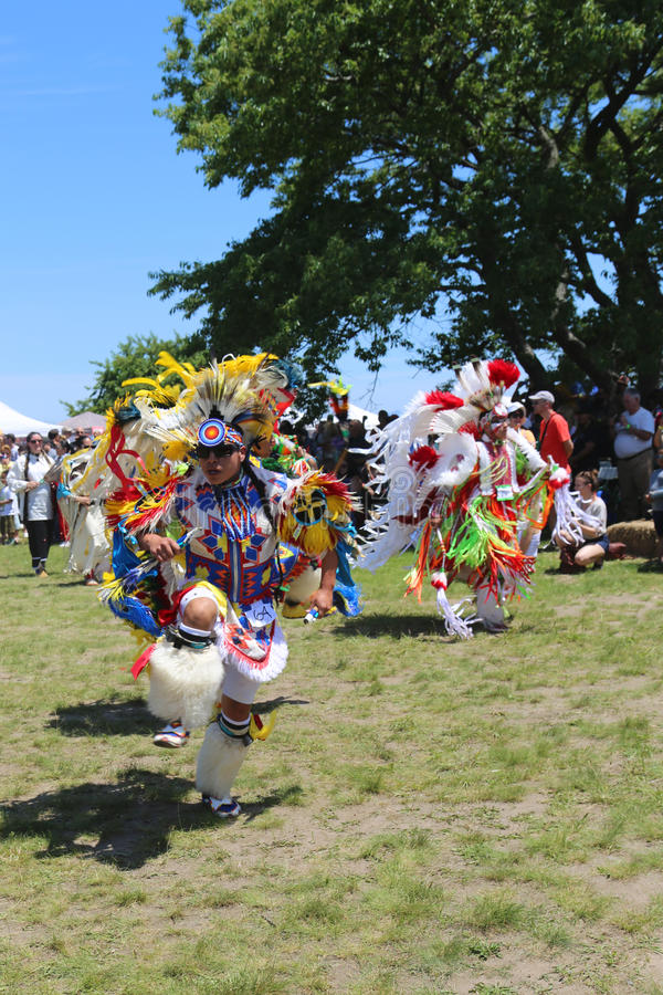 Unidentified Native American dancers at the NYC Pow Wow in Brooklyn. NEW YORK - JUNE 8 Unidentified Native American dancers at the NYC Pow Wow in Brooklyn on stock photos