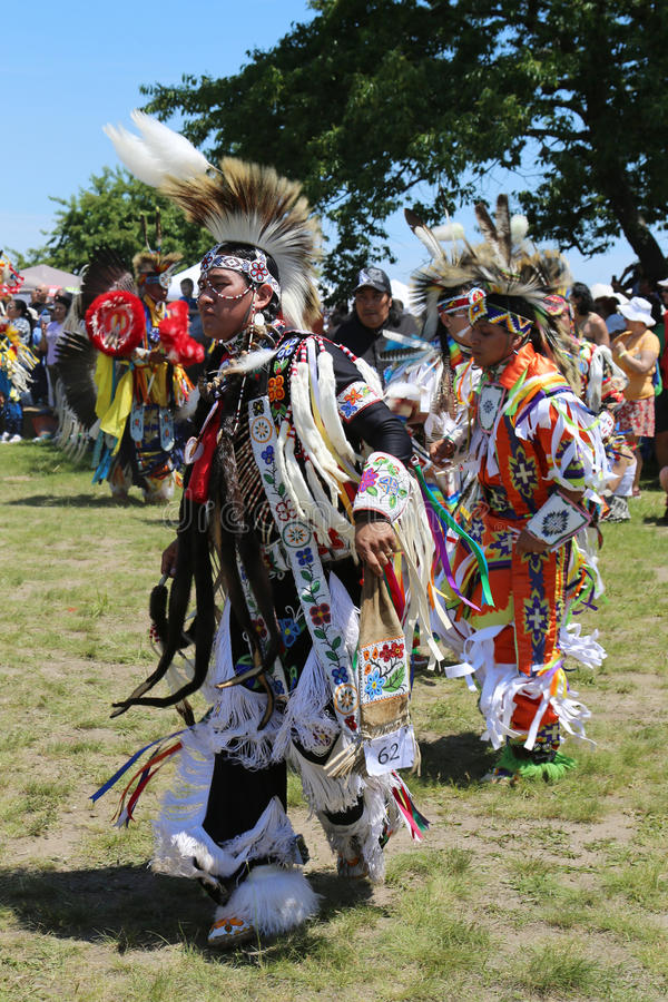 Unidentified Native American dancers at the NYC Pow Wow. NEW YORK - JUNE 8: Unidentified Native American dancers at the NYC Pow Wow in Brooklyn on June 8, 2014 stock images