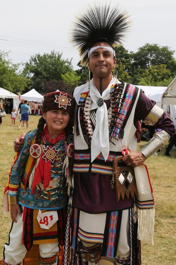 Unidentified Native American family during 40th Annual Thunderbird American Indian Powwow royalty free stock image