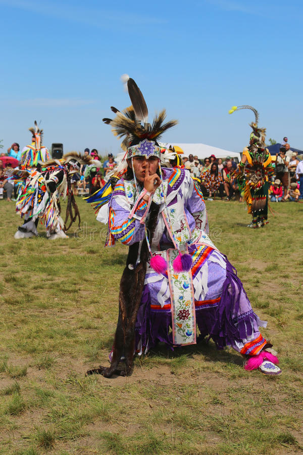 Unidentified Native American at the NYC Pow Wow in Brooklyn. NEW YORK - JUNE 8: Unidentified Native American at the NYC Pow Wow in Brooklyn on June 8, 2014. A stock photo