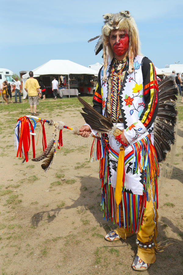 Unidentified Native American at the NYC Pow Wow stock images