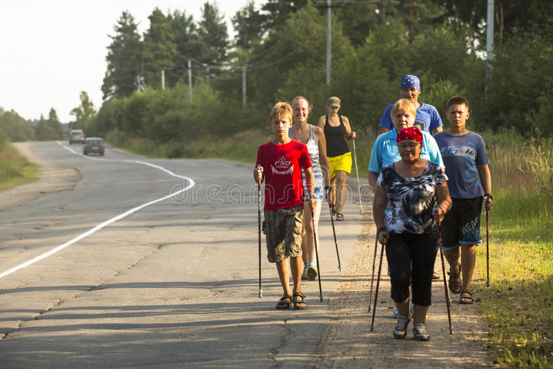 Unidentified participants during of local competitions in Nordic walking devoted to the Day of Health. royalty free stock images