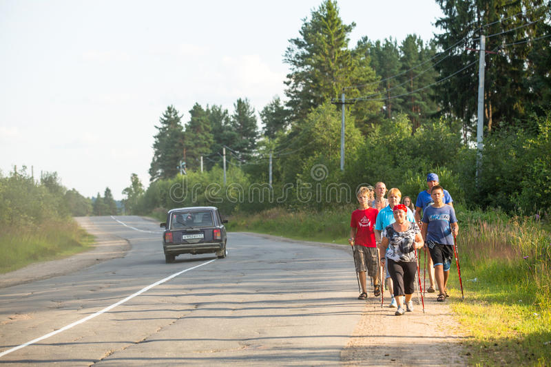 Unidentified participants during of local competitions in Nordic walking royalty free stock photo