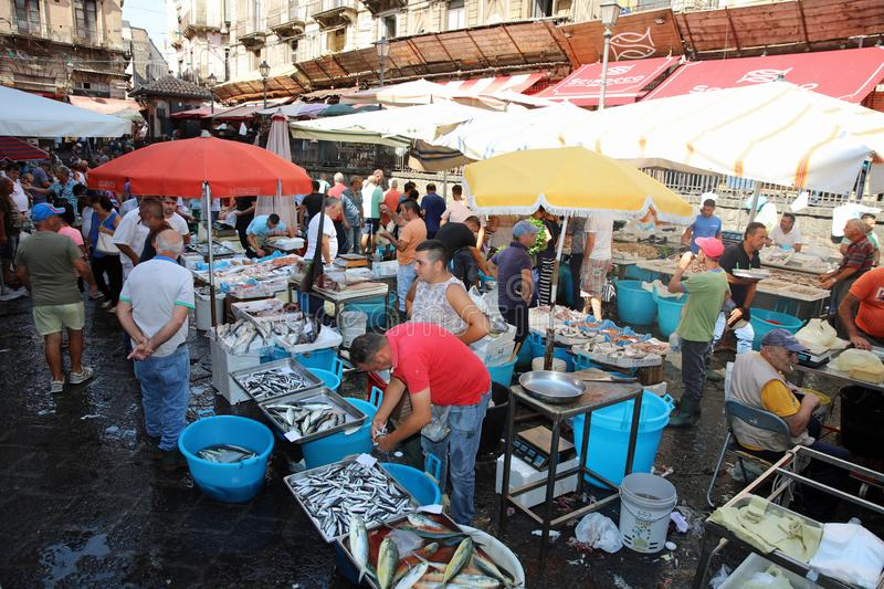 Unidentified People at the famous Fishmarket in Catania. Sicily. Italy royalty free stock photography