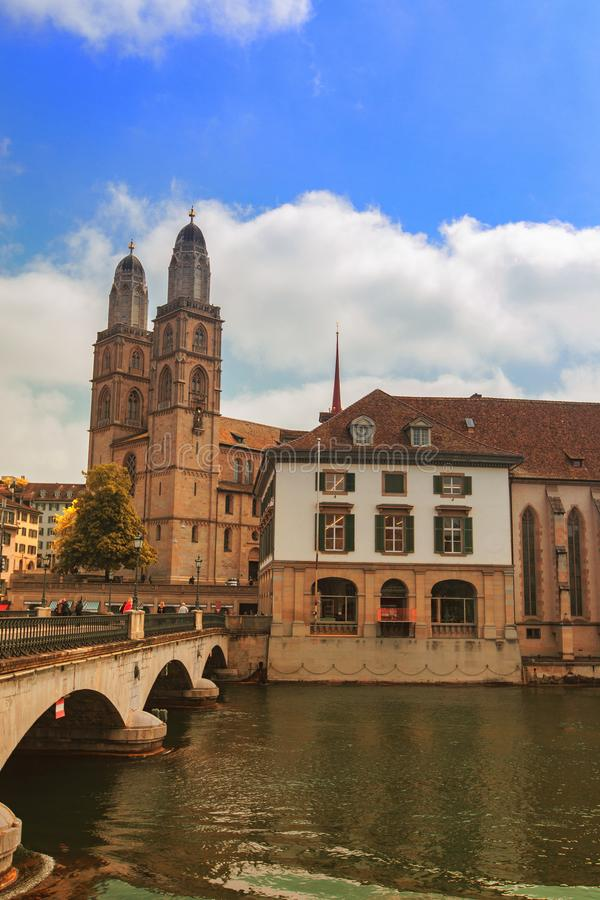 Grossmunster church in Zurich, Switzerland royalty free stock photos