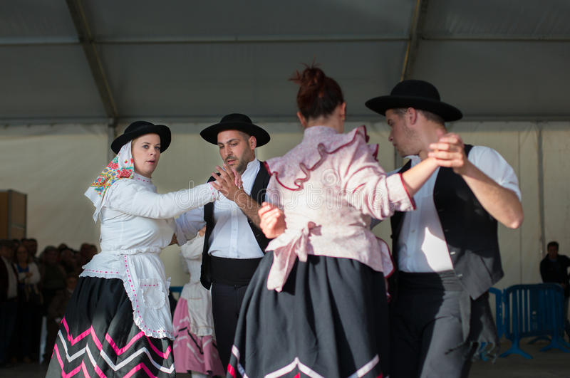 An unidentified people performs a Traditional Portuguese folkloric music. Mértola, PORTUGAL - MARCH 29: An unidentified people performs a Traditional stock photos