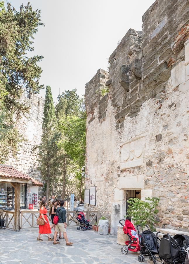 Unidentified people walk and explore in Bodrum Castle royalty free stock photography