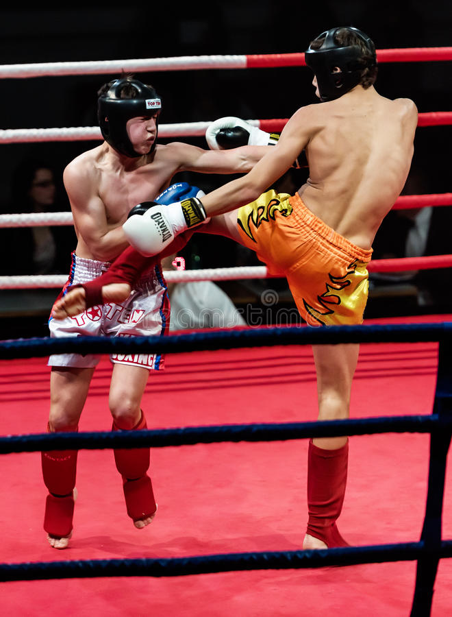 Unidentified players in Combat Fight Night stock photos