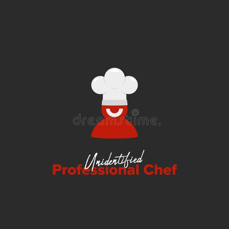 Unidentified professional Chef Logo with red silhouette smile chef wear white chef hat in simple illustration icon emblem symbol. Badge stock illustration