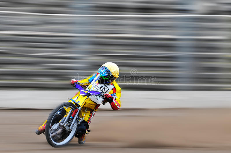 Unidentified rider participate at National Championship of Dirt Track royalty free stock photo