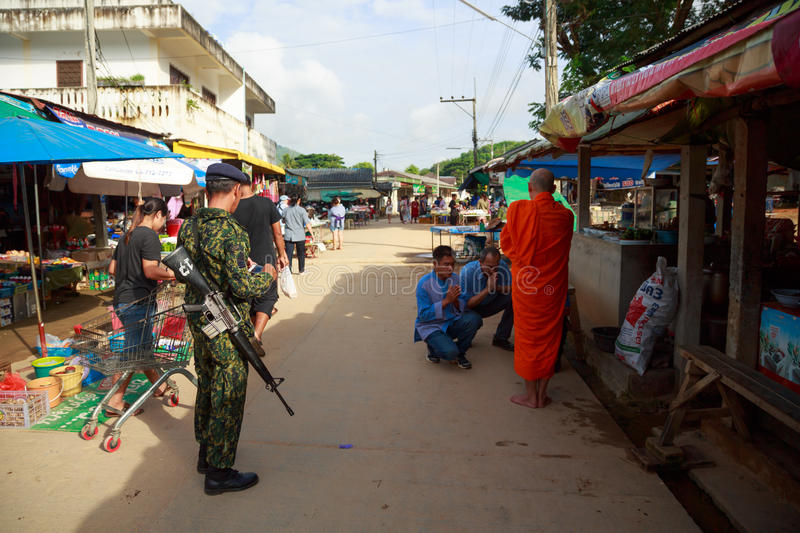 Unidentified Soldier Protecting Monk On Duty Border Editorial Stock Image
