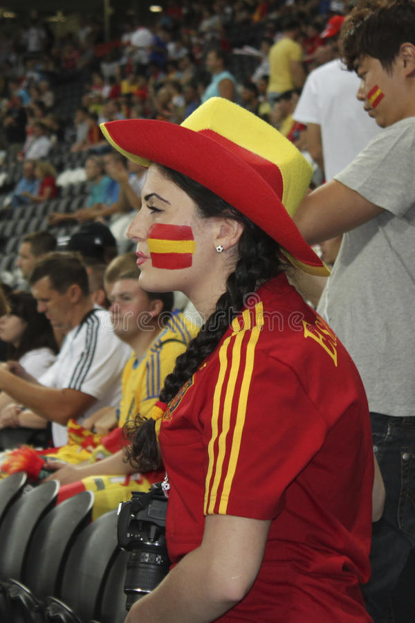 Unidentified Spanish woman-fan stock photo
