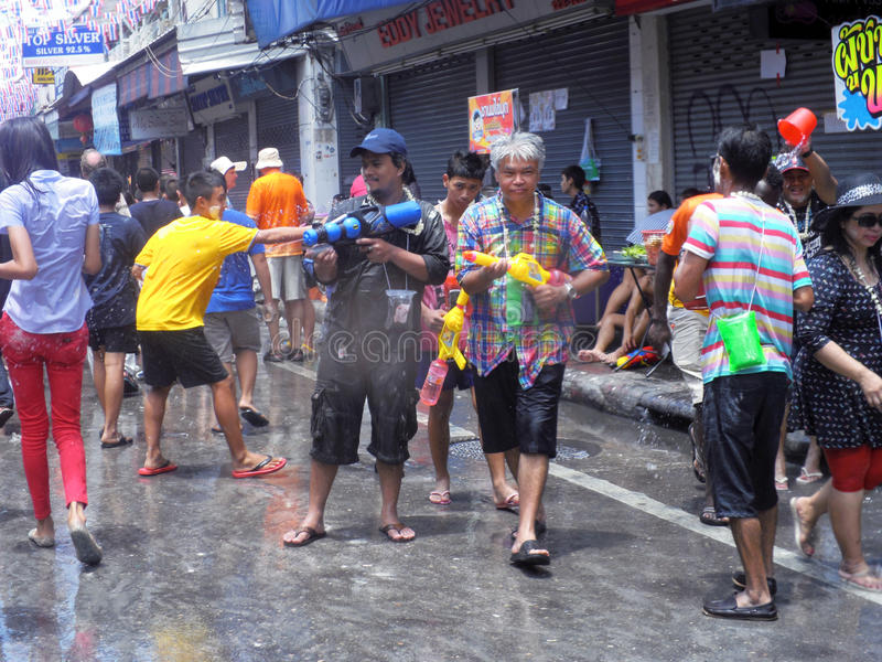 Unidentified Thai and International people enjoy. BANGKOK, THAILAND - APRIL 13: Unidentified Thai and International people enjoy in Bangkok Songkran Festival stock images