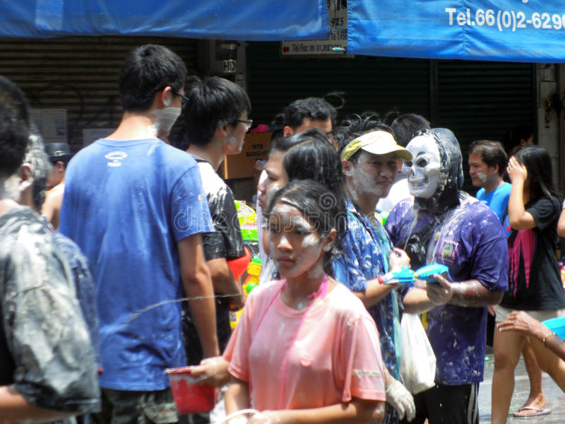 Unidentified Thai and International people enjoy. BANGKOK, THAILAND - APRIL 13: Unidentified Thai and International people enjoy in Bangkok Songkran Festival royalty free stock image