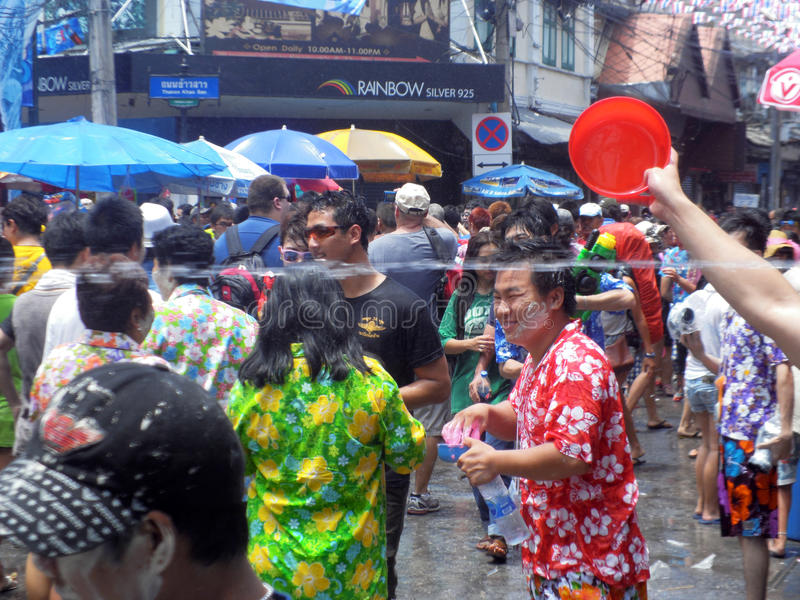 Unidentified Thai and International people enjoy. BANGKOK, THAILAND - APRIL 13: Unidentified Thai and International people enjoy in Bangkok Songkran Festival stock photography