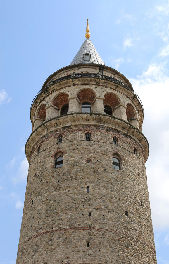 Unidentified tourists enjoying view on the top of Historic Galata Tower stock image