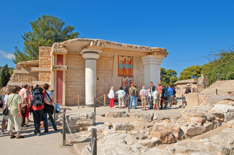Unidentified tourists near South Propylaeon at the Knossos palace on the Crete island in Greece royalty free stock images