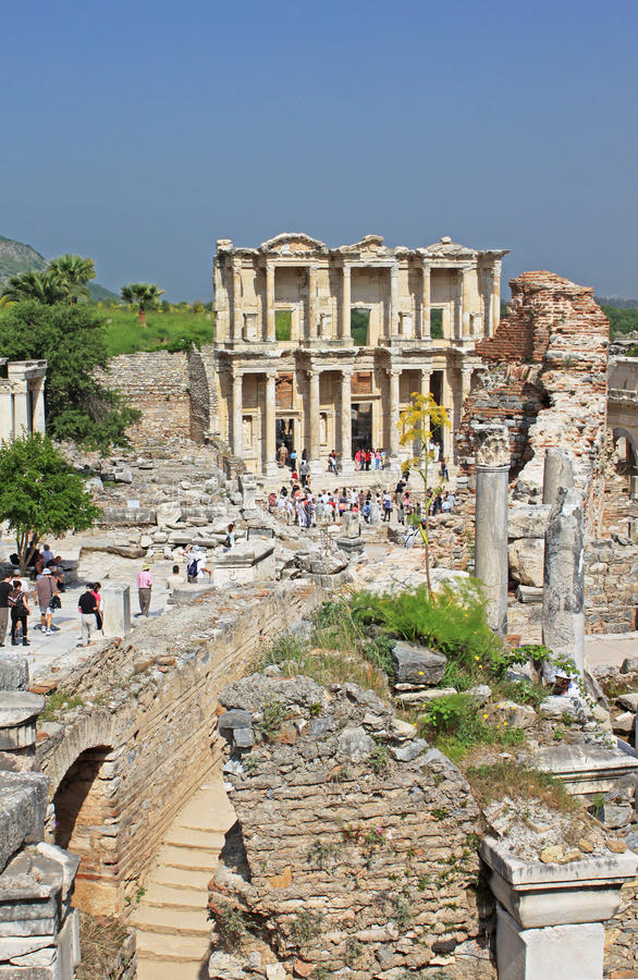 Unidentified tourists visit greek-roman ruins of Ephesus, Turkey stock image