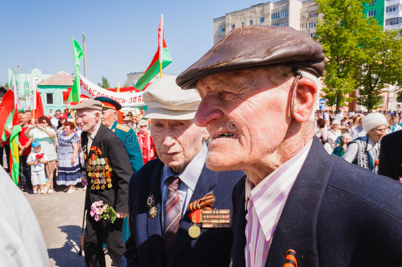 Unidentified veterans during the celebration of Victory Day. GOMEL, BELARUS - MAY 9: Unidentified veterans during the celebration. Gomel, BELARUS - MAY 9 stock photos
