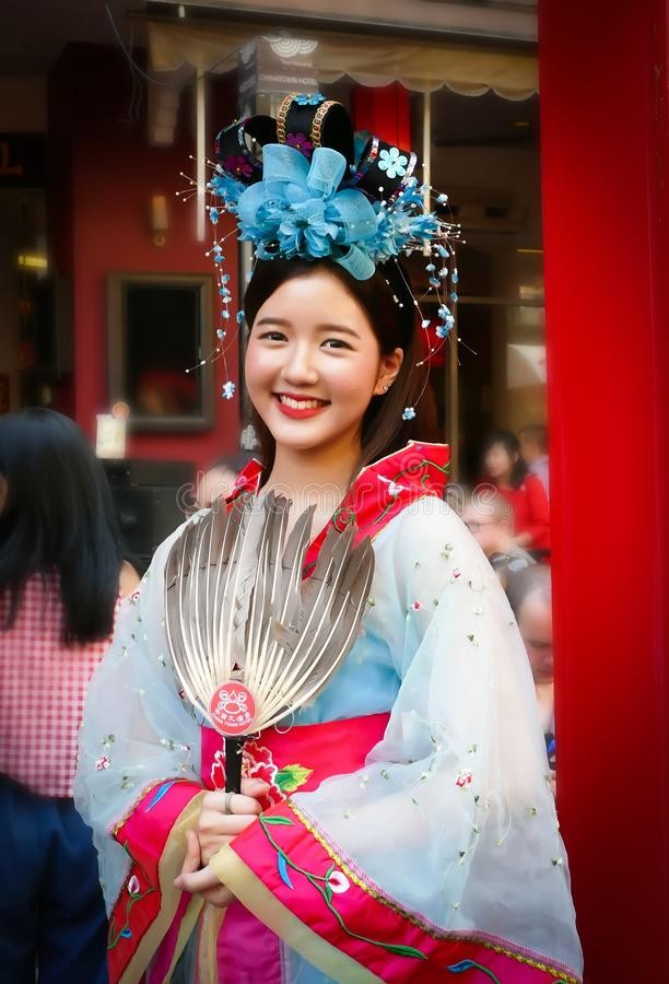 Unidentified woman with chinese traditional dress royalty free stock photography