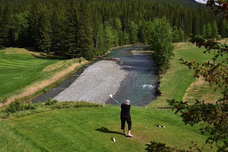 An unidentified woman is playing golf in middle of amazing landscapes. A golfing location in middle of amazing landscapes. A landscape of Canadian Rocky stock photography