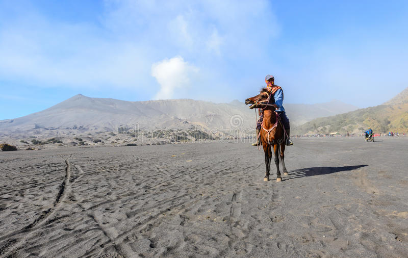 Unidentified worker sitting horse rental provide for tourists at Mount Bromo on SEP 13, 2015 in Java. BROMO, INDONESIA - SEP 13: Unidentified worker sitting stock photo