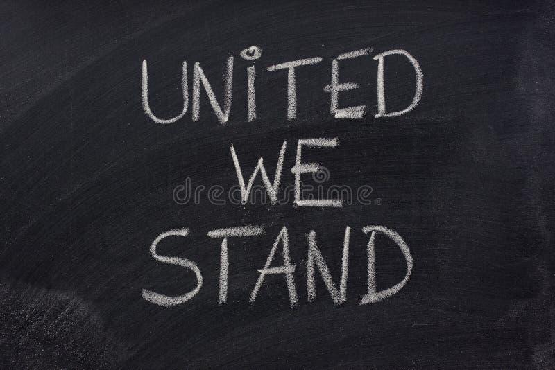 Unido Nós Estamos A Frase No Quadro-negro Foto de Stock