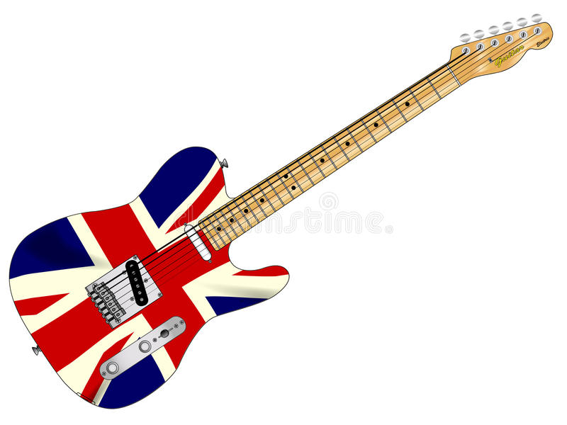 Unie Jack Slab Guitar stock illustratie