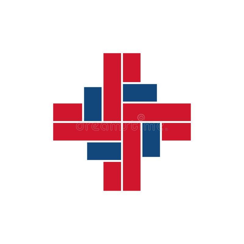 Uniek het Symboolteken van de kruisings Medisch Gezondheidszorg vector illustratie