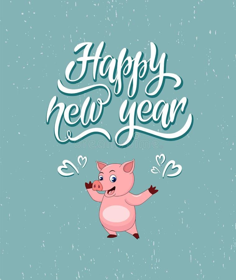 Uniek het van letters voorzien Gelukkig Nieuwjaar voor uw projecten stock illustratie