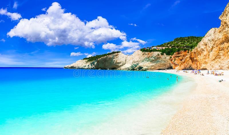 Unieke aard en verbazend strand, Porto Katsiki, Griekenland stock foto's