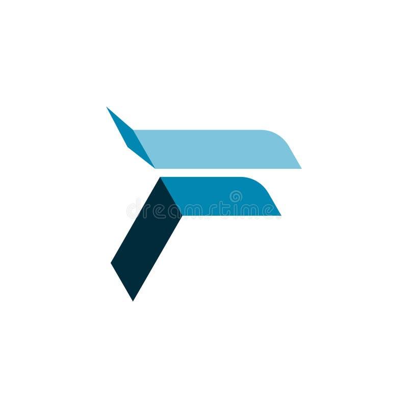 Unieke Abstracte F-Brief Blauw Gevouwen Logo Symbol stock illustratie