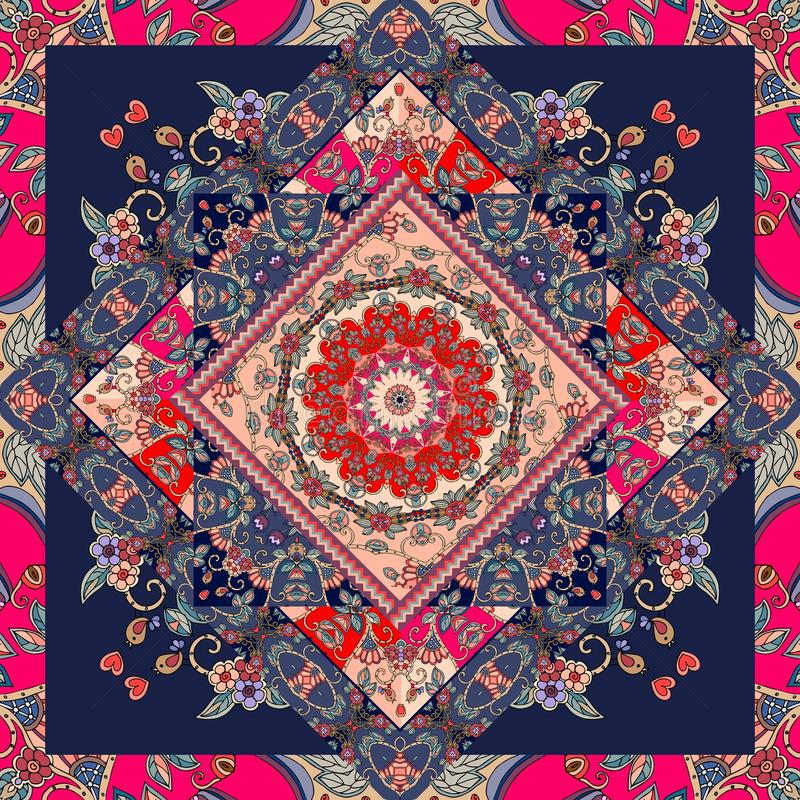 Unieke bandanadruk Mooi tafelkleed met bloem - mandala en helder ornament stock illustratie