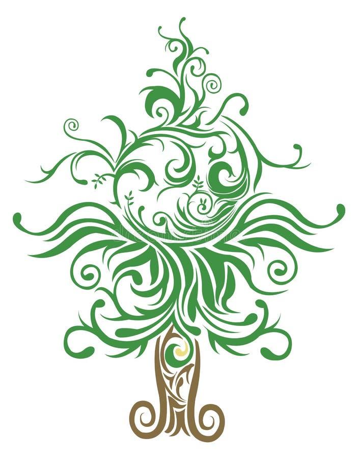 Unieke gemaakte Kerstboom withcurves en elementen royalty-vrije illustratie
