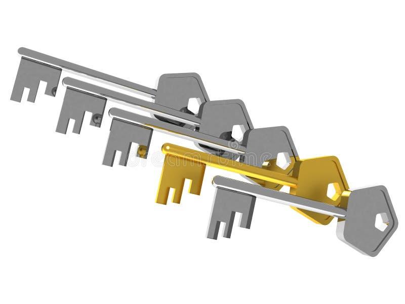 Unieke gouden sleutel vector illustratie