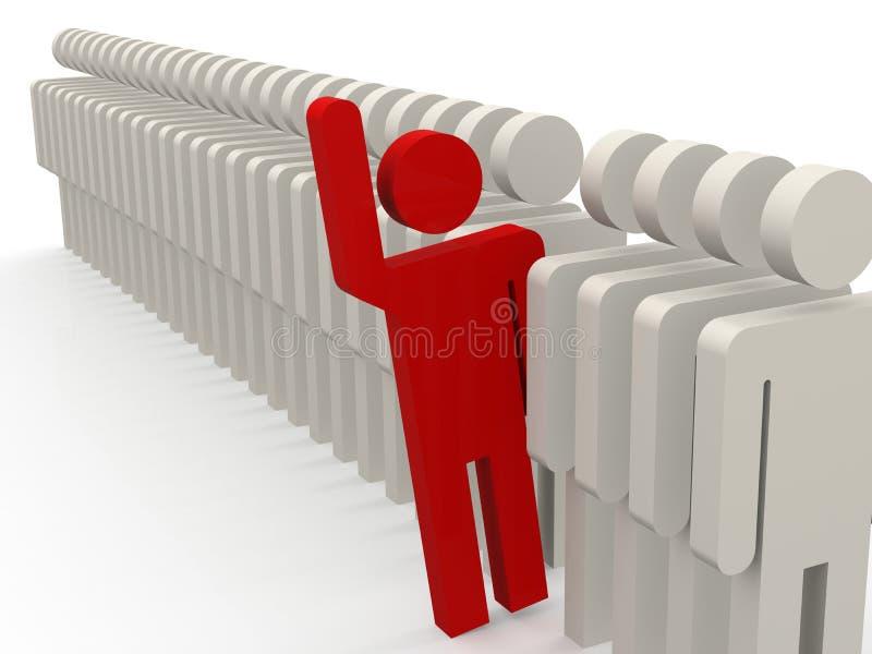 Unieke rode persoon die uit van rij van mensen stappen vector illustratie