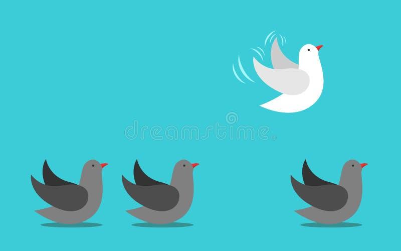 Unieke vogel die wegvliegen royalty-vrije illustratie