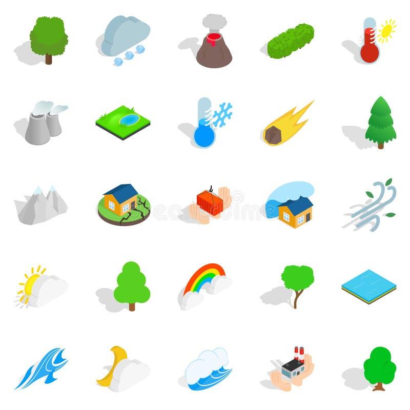 Unieszczęśliwienie ikony ustawiać, isometric styl ilustracja wektor